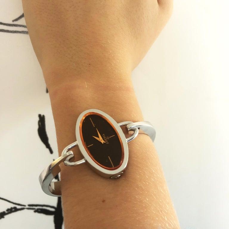 Original 1973 Tissot Pekka Pierkaeinen's Elliptical Sterling Silver Bangle Watch For Sale 5