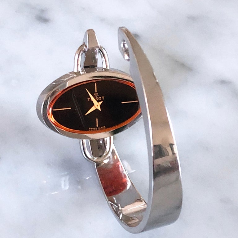 Original 1973 Tissot Pekka Pierkaeinen's Elliptical Sterling Silver Bangle Watch For Sale 9