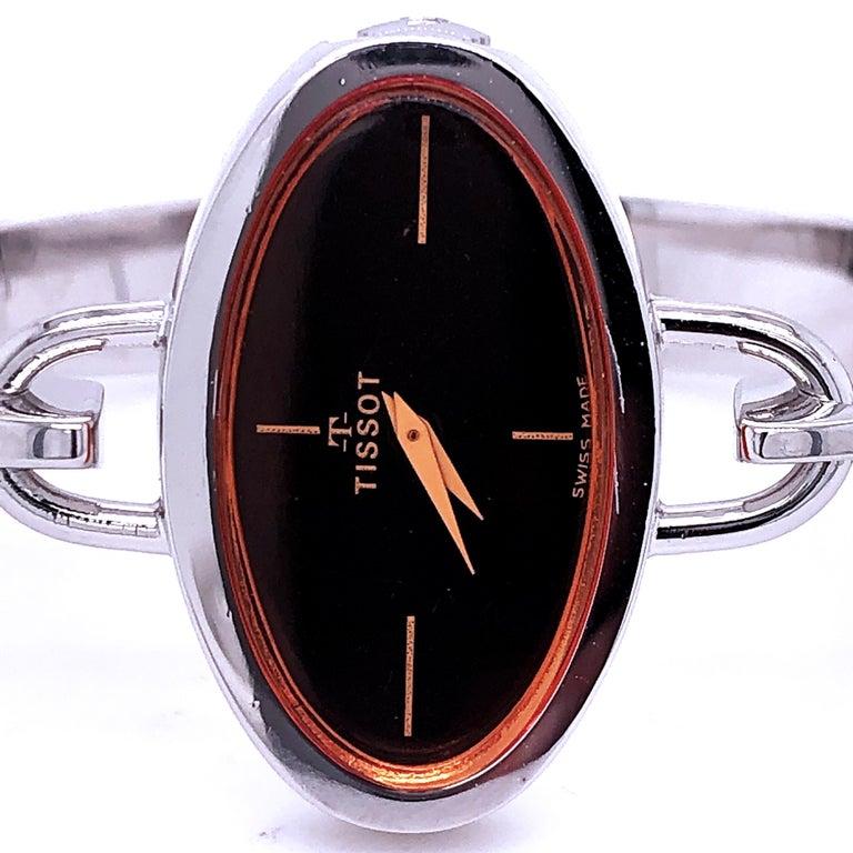 Modern Original 1973 Tissot Pekka Pierkaeinen's Elliptical Sterling Silver Bangle Watch For Sale