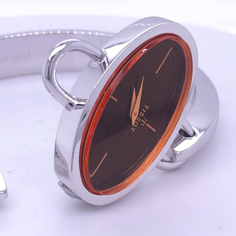 Original 1973 Tissot Pekka Pierkaeinen's Elliptical Sterling Silver Bangle Watch In Excellent Condition For Sale In Valenza, IT