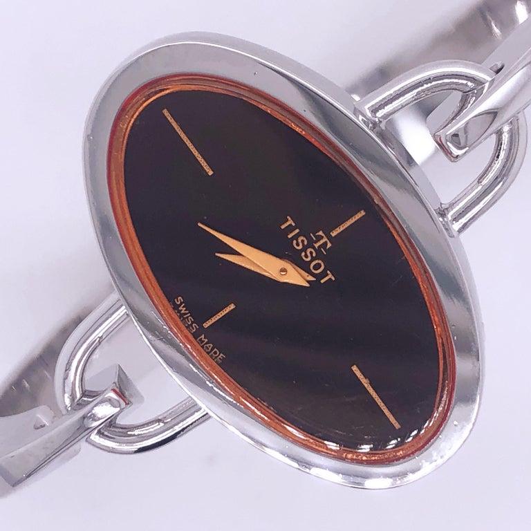 Original 1973 Tissot Pekka Pierkaeinen's Elliptical Sterling Silver Bangle Watch For Sale 2