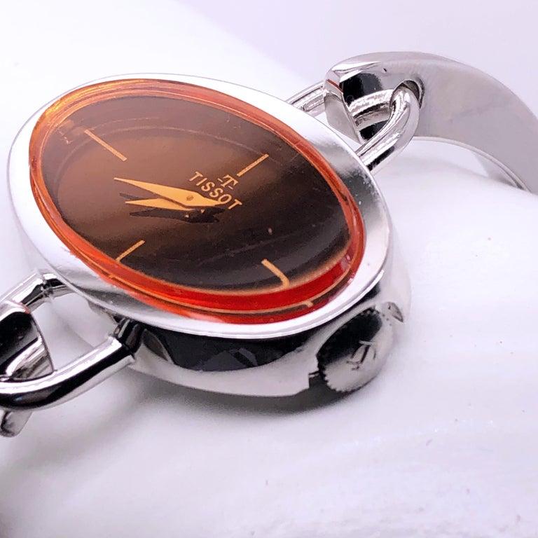 Original 1973 Tissot Pekka Pierkaeinen's Elliptical Sterling Silver Bangle Watch For Sale 3