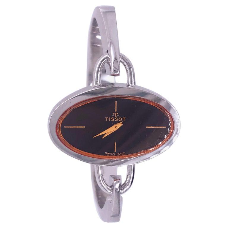 Original 1973 Tissot Pekka Pierkaeinen's Elliptical Sterling Silver Bangle Watch For Sale