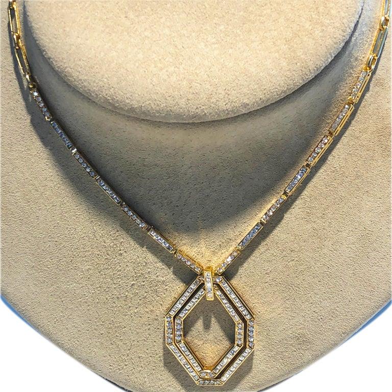 Original 1977 Bulgari Princess Brilliant Cut Diamond 18 Kt Yellow Gold Necklace For Sale 5