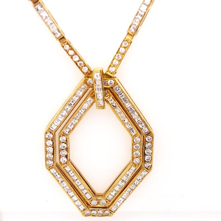 Original 1977 Bulgari Princess Brilliant Cut Diamond 18 Kt Yellow Gold Necklace For Sale 6