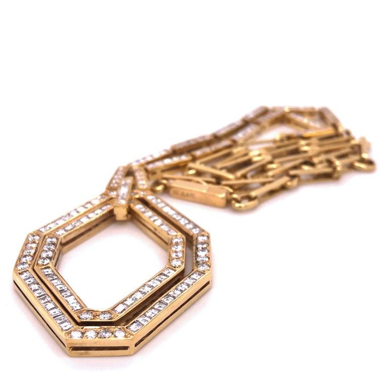 Original 1977 Bulgari Princess Brilliant Cut Diamond 18 Kt Yellow Gold Necklace For Sale 7