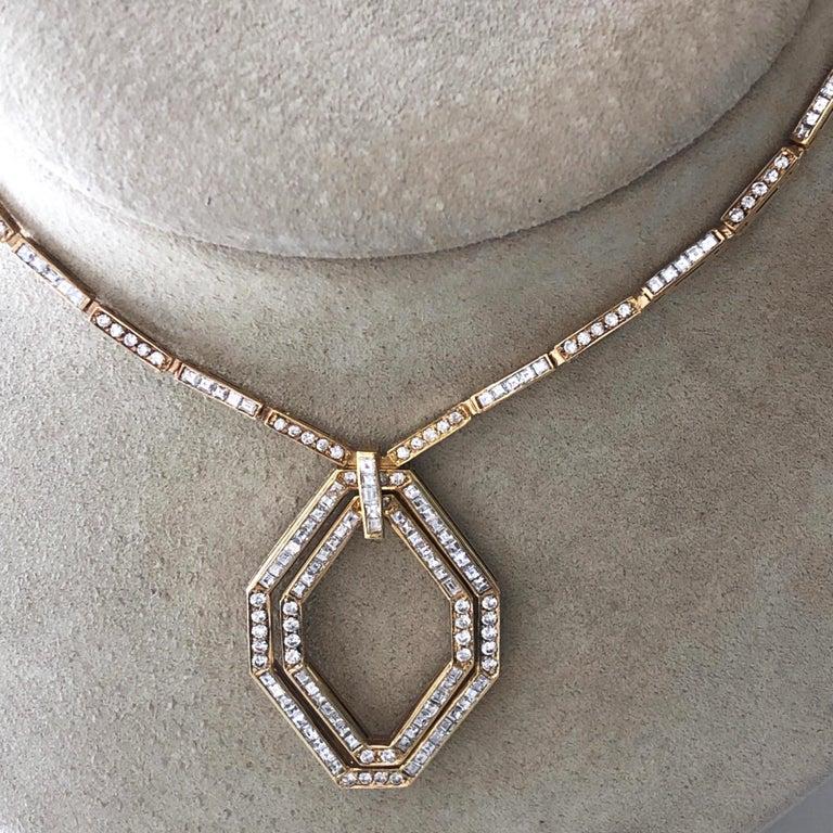 Original 1977 Bulgari Princess Brilliant Cut Diamond 18 Kt Yellow Gold Necklace For Sale 10