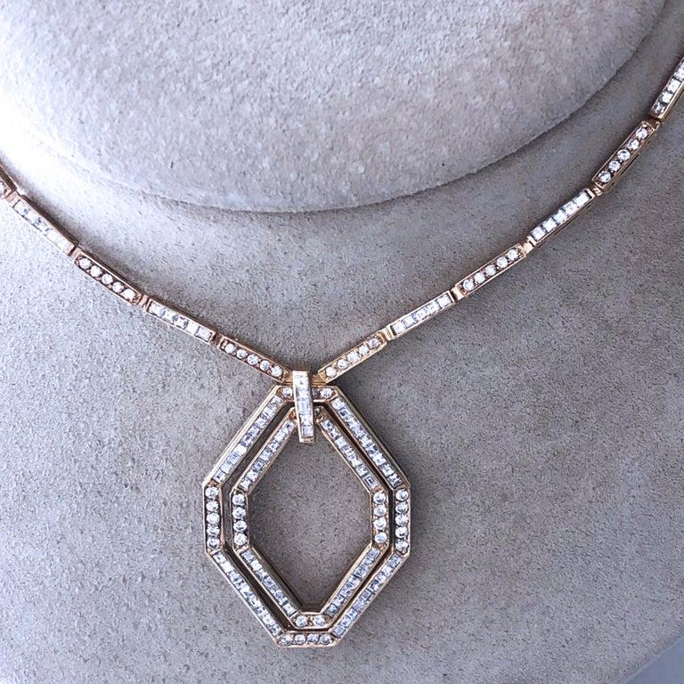 Original 1977 Bulgari Princess Brilliant Cut Diamond 18 Kt Yellow Gold Necklace For Sale 11