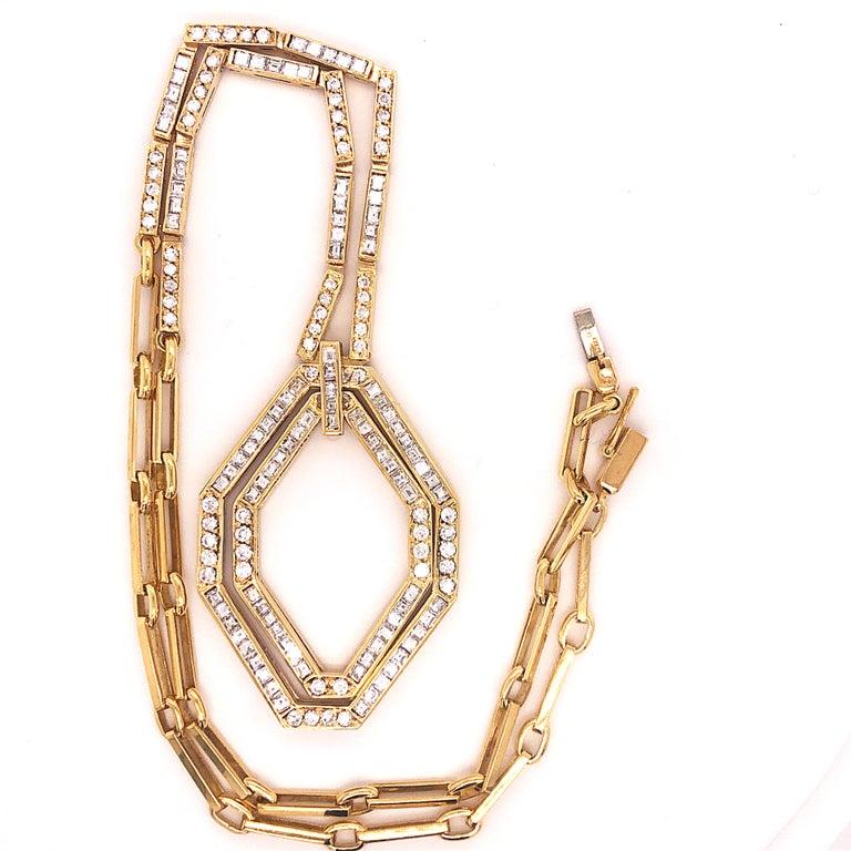 Modern Original 1977 Bulgari Princess Brilliant Cut Diamond 18 Kt Yellow Gold Necklace For Sale