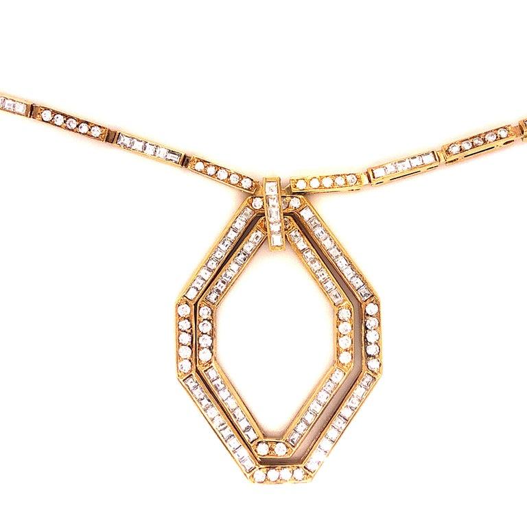 Princess Cut Original 1977 Bulgari Princess Brilliant Cut Diamond 18 Kt Yellow Gold Necklace For Sale