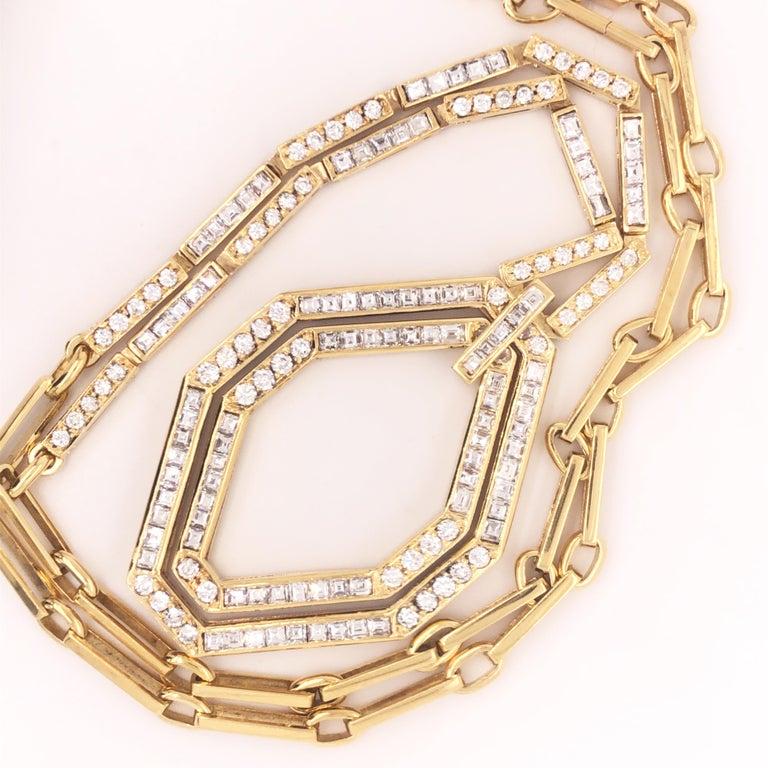 Original 1977 Bulgari Princess Brilliant Cut Diamond 18 Kt Yellow Gold Necklace For Sale 1