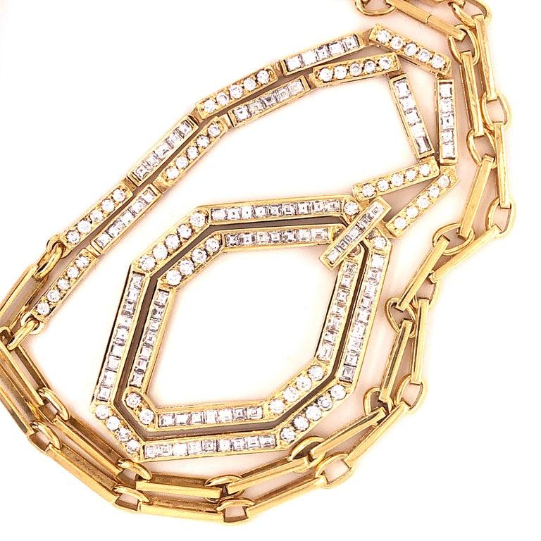 Original 1977 Bulgari Princess Brilliant Cut Diamond 18 Kt Yellow Gold Necklace For Sale 2