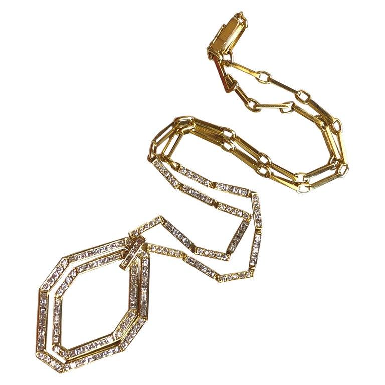 Original 1977 Bulgari Princess Brilliant Cut Diamond 18 Kt Yellow Gold Necklace For Sale