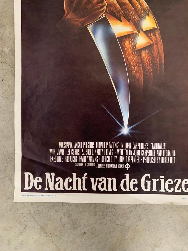Original 1978 Halloween Film Poster, Belgium, John Carpenter, Jamie Lee Curtis In Good Condition For Sale In Hoogeveen, NL