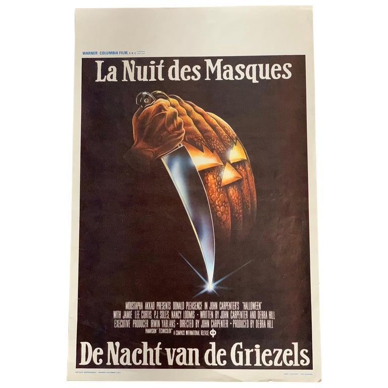Original 1978 Halloween Film Poster, Belgium, John Carpenter, Jamie Lee Curtis For Sale