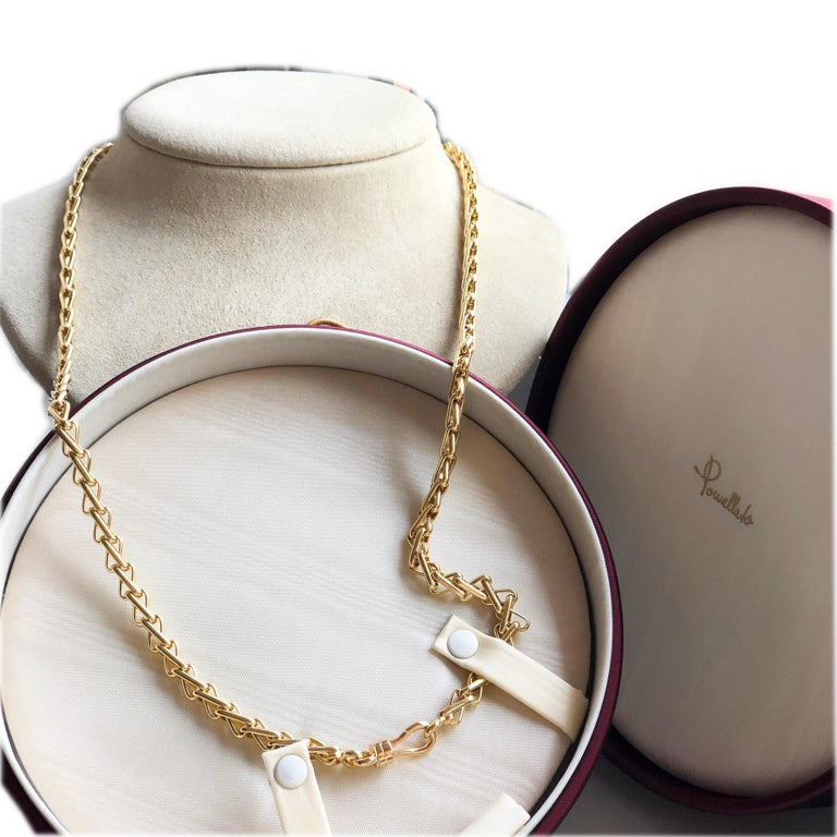 Original 1980 One-of-a-Kind Pomellato 18K Solid Yellow Gold Long Chain Necklace For Sale 7