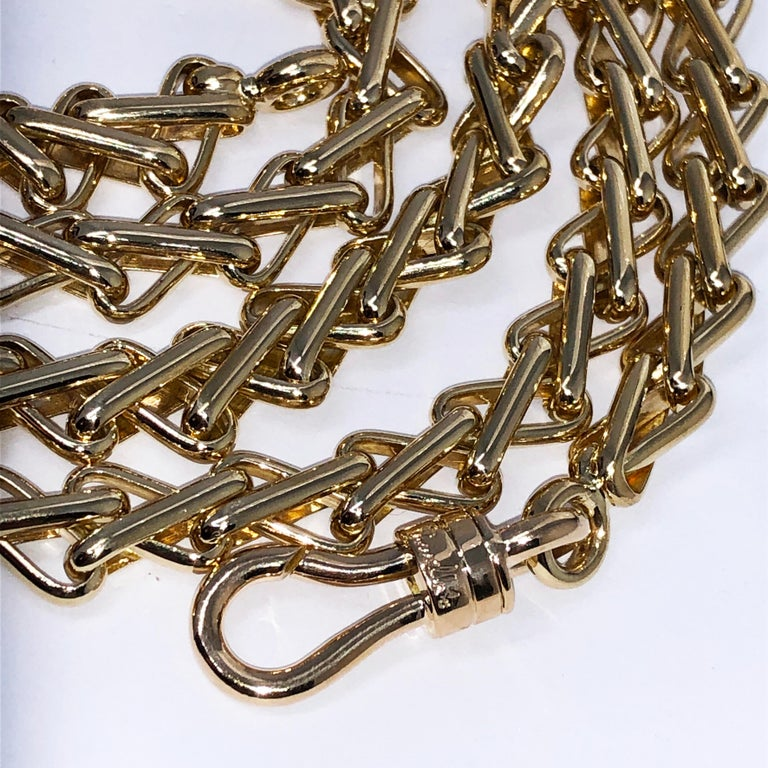 Modern Original 1980 One-of-a-Kind Pomellato 18K Solid Yellow Gold Long Chain Necklace For Sale