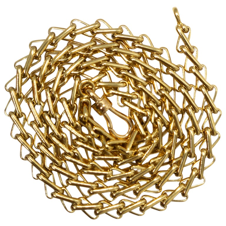Original 1980 One-of-a-Kind Pomellato 18K Solid Yellow Gold Long Chain Necklace For Sale