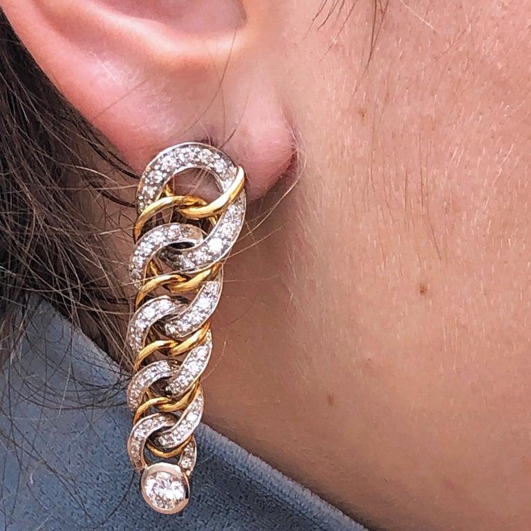 Original 1980 Pomellato 2.70kt Diamond Yellow White Gold Gourmette Earrings For Sale 7