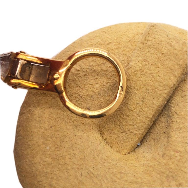 Original 1980 Pomellato 2.70kt Diamond Yellow White Gold Gourmette Earrings For Sale 4