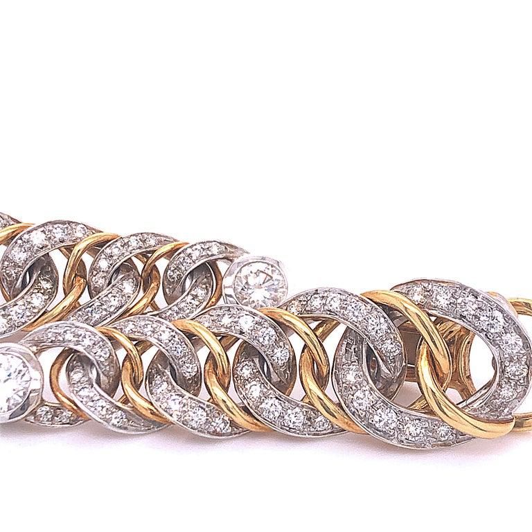 Women's Original 1980 Pomellato 2.70kt Diamond Yellow White Gold Gourmette Earrings For Sale