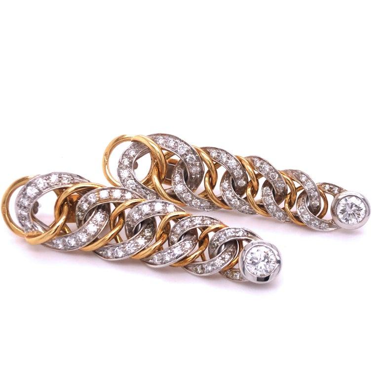 Original 1980 Pomellato 2.70kt Diamond Yellow White Gold Gourmette Earrings For Sale 1