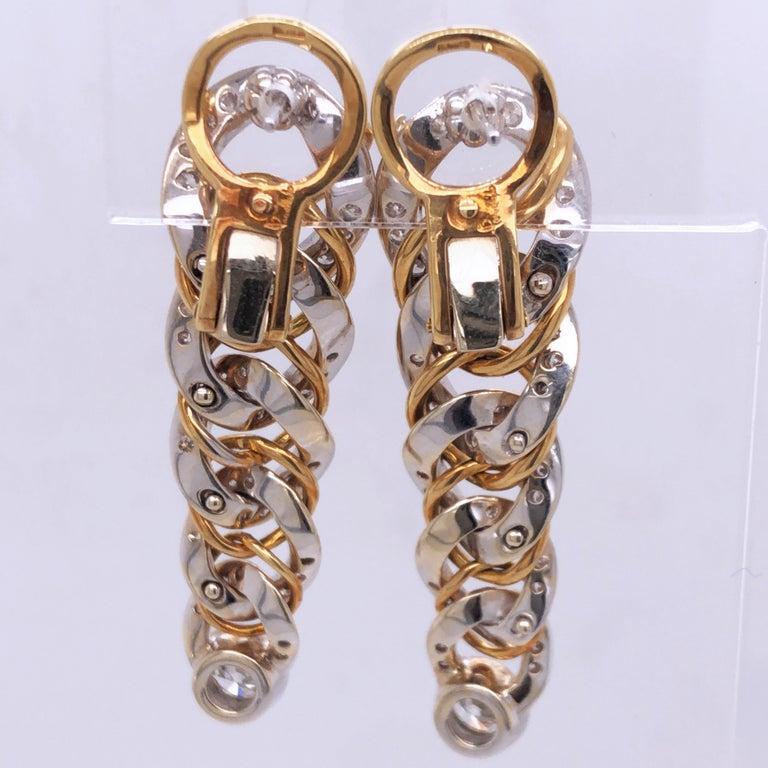Original 1980 Pomellato 2.70kt Diamond Yellow White Gold Gourmette Earrings For Sale 2