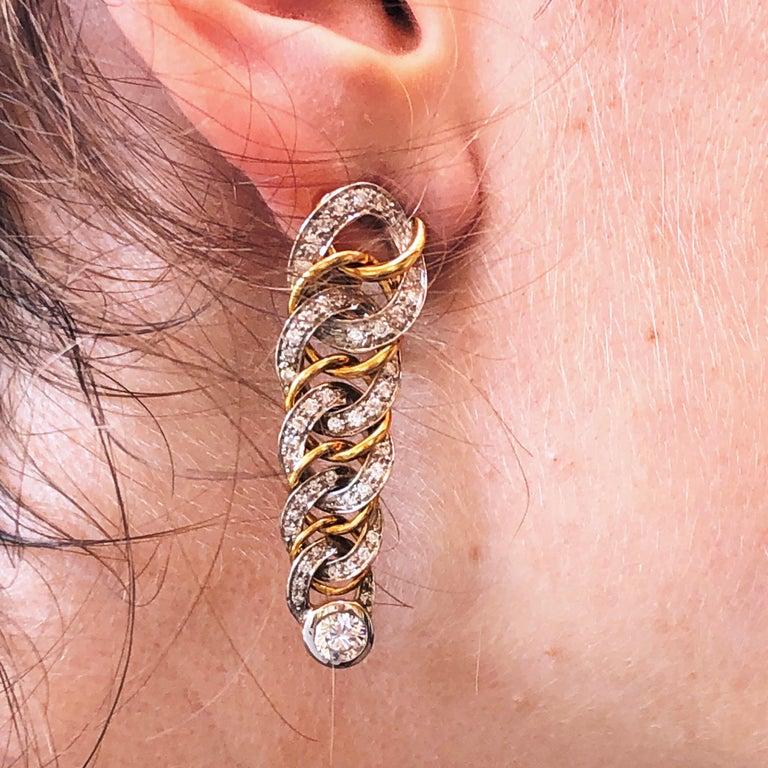 Original 1980 Pomellato 2.70kt Diamond Yellow White Gold Gourmette Earrings For Sale 6