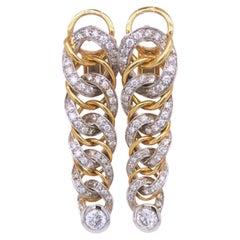 Original 1980 Pomellato 2.70kt Diamond Yellow White Gold Gourmette Earrings