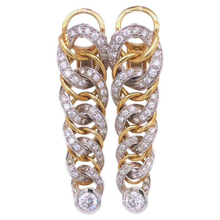 Original 1980 Pomellato 2.70kt Diamond Yellow White Gold Gourmette Earrings For Sale