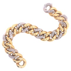 Original 1980's Diamond White Yellow Gold Iconic Pomellato Gourmette Bracelet