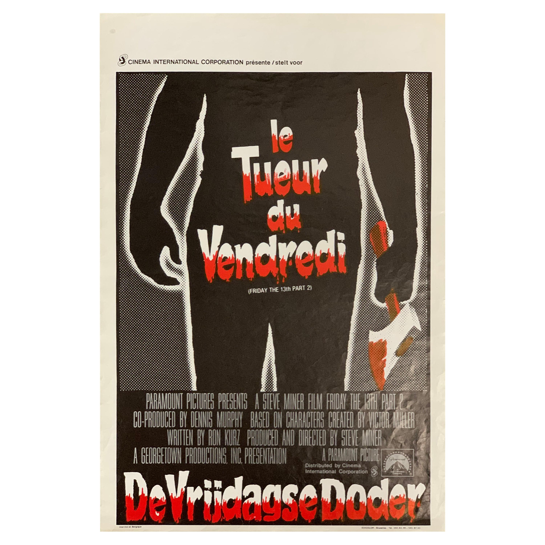 Original 1981 Film Poster, Friday the 13th Part 2, Belgian, Jason Voorhees