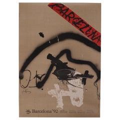 Original 1992 Barcelona Olympic Poster Designed by Antoni Tàpies, XXV Olympiad