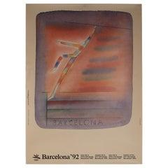 Original 1992 Barcelona Olympic Poster Designed by Jean-Michel Folon