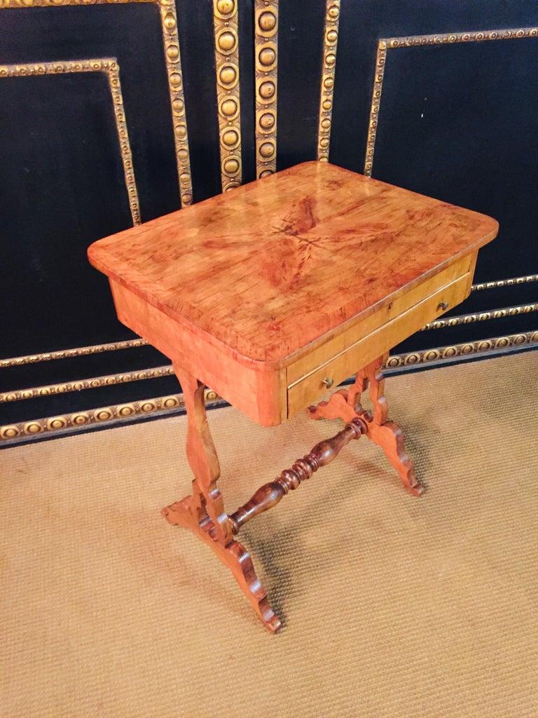 Original 19th Century Biedermeier Sewing Table Lyra Legs Cherrywood For Sale 5