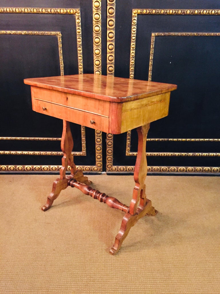 Original 19th Century Biedermeier Sewing Table Lyra Legs Cherrywood For Sale 10
