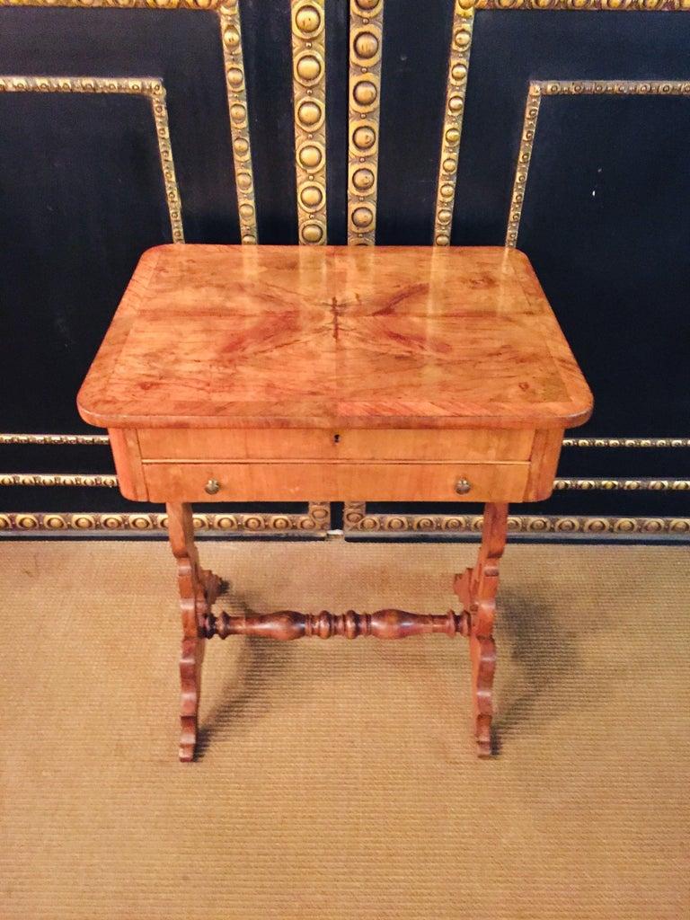 German Original 19th Century Biedermeier Sewing Table Lyra Legs Cherrywood For Sale