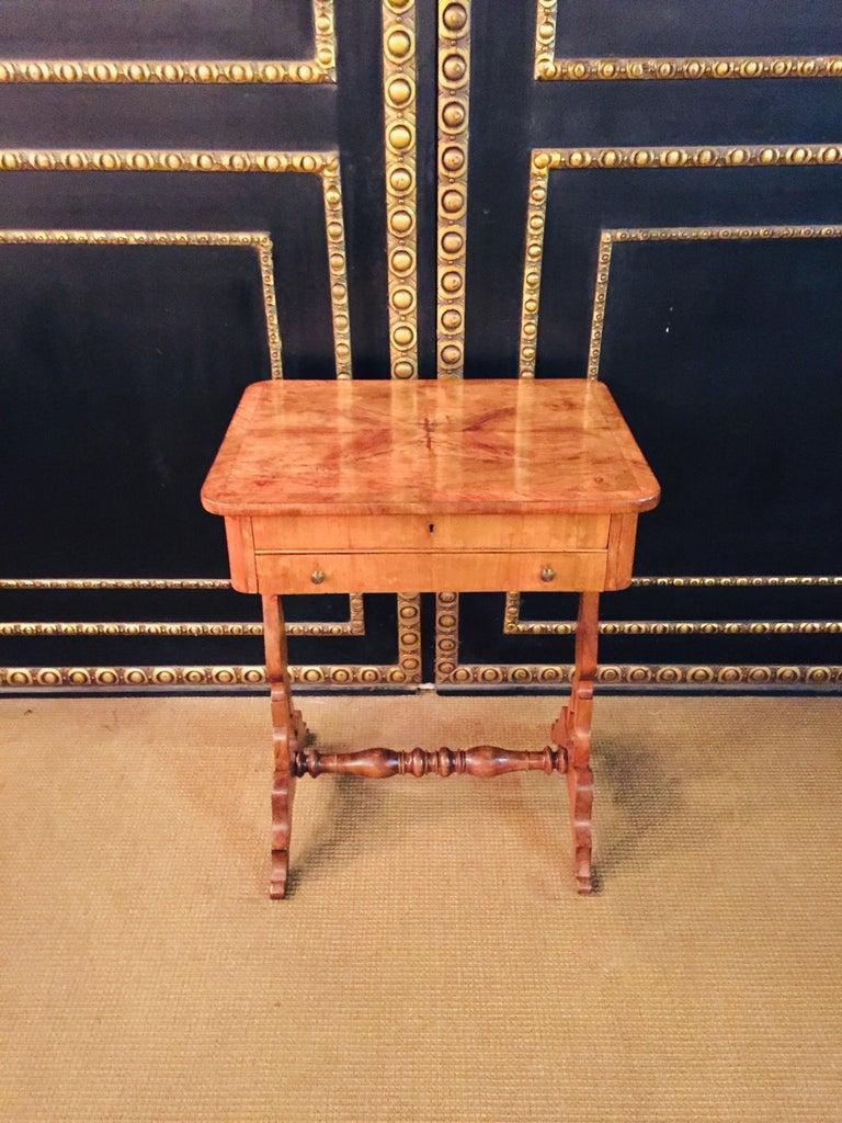 Veneer Original 19th Century Biedermeier Sewing Table Lyra Legs Cherrywood For Sale