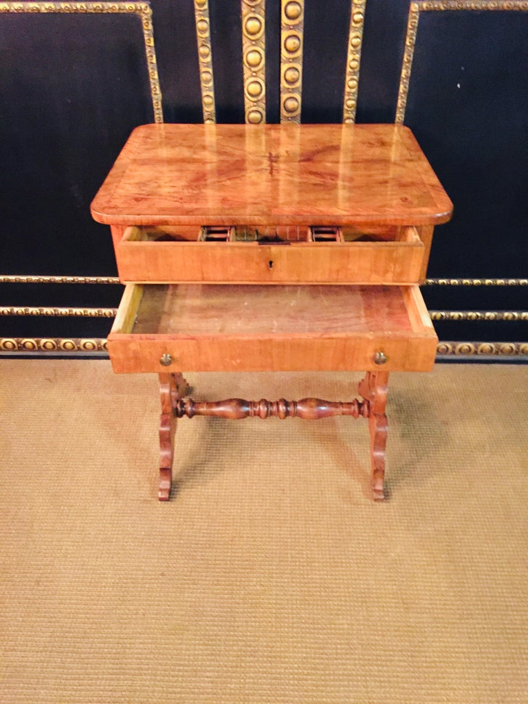 Original 19th Century Biedermeier Sewing Table Lyra Legs Cherrywood For Sale 1