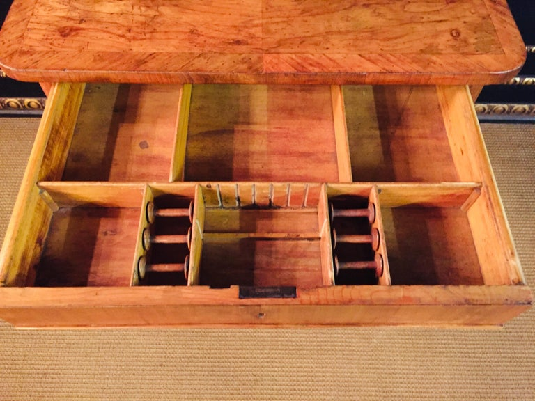 Original 19th Century Biedermeier Sewing Table Lyra Legs Cherrywood For Sale 2
