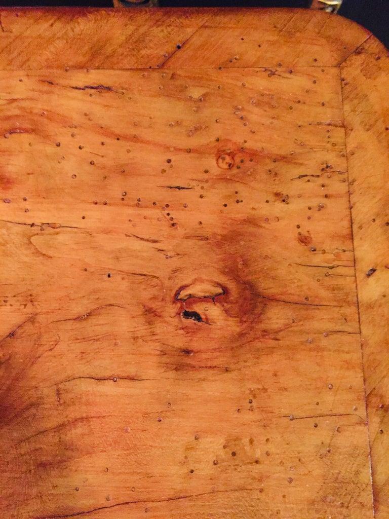 Original 19th Century Biedermeier Sewing Table Lyra Legs Cherrywood For Sale 3