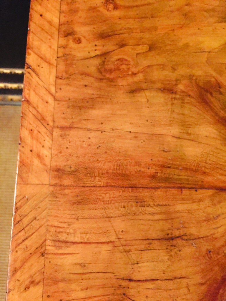 Original 19th Century Biedermeier Sewing Table Lyra Legs Cherrywood For Sale 4