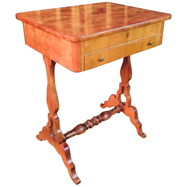 Original 19th Century Biedermeier Sewing Table Lyra Legs Cherrywood For Sale