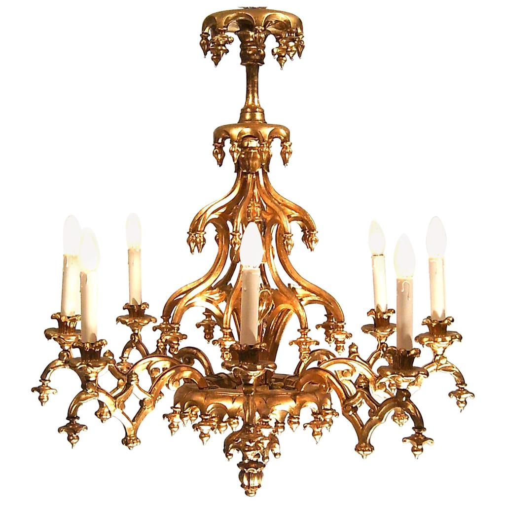 Original 19th Century Historistic Chandelier, Laxenburger Gothic Style