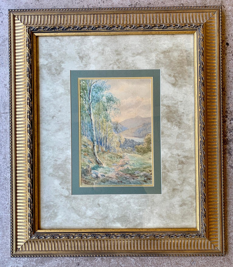 """Scottish Original 19th Century """"Loch Achilty"""" Watercolor Painting by L.G. Bomford, 1889 For Sale"""