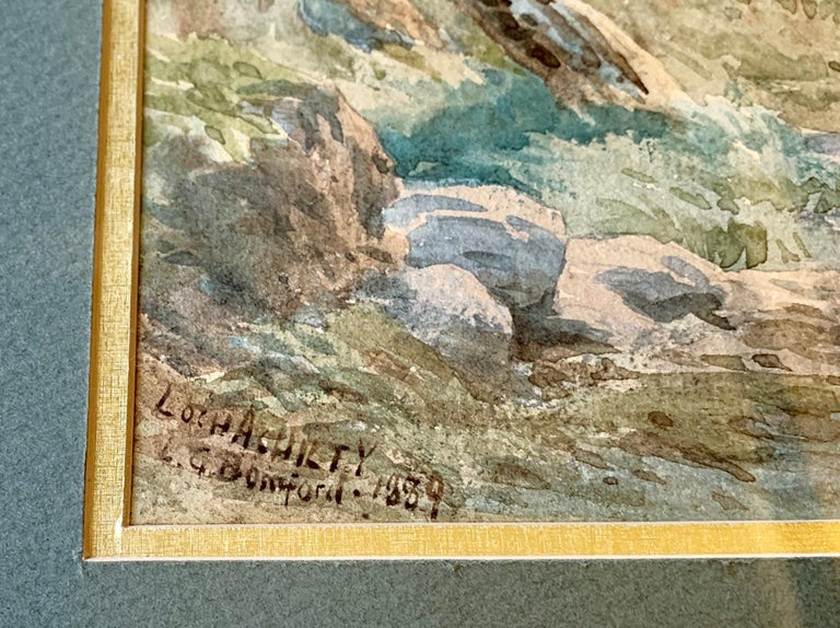 """Hand-Painted Original 19th Century """"Loch Achilty"""" Watercolor Painting by L.G. Bomford, 1889 For Sale"""