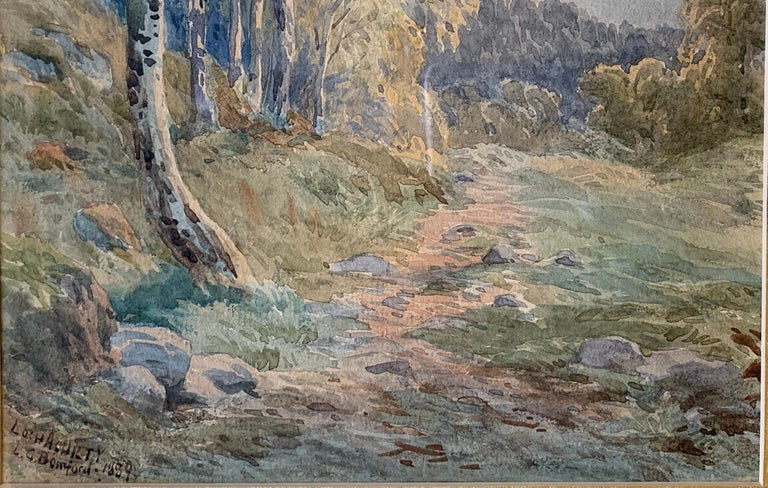 """Late 19th Century Original 19th Century """"Loch Achilty"""" Watercolor Painting by L.G. Bomford, 1889 For Sale"""