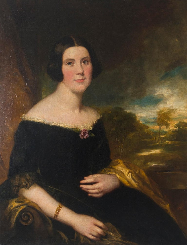Portrait of Lydia Augusta Allen, English, attributed to artist George Clint, Oil, circa 1835, newly reframed.