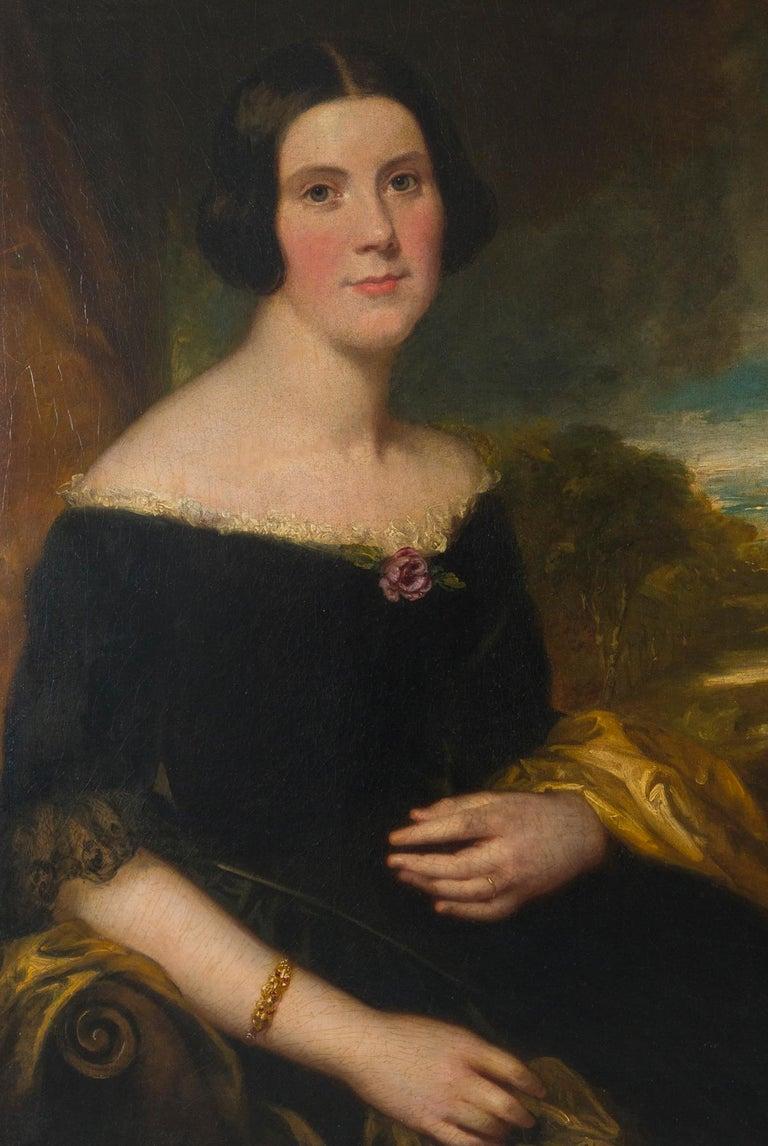 Georgian Original 19th Century Oil Portrait of Lydia Augusta Allen by George Clint For Sale