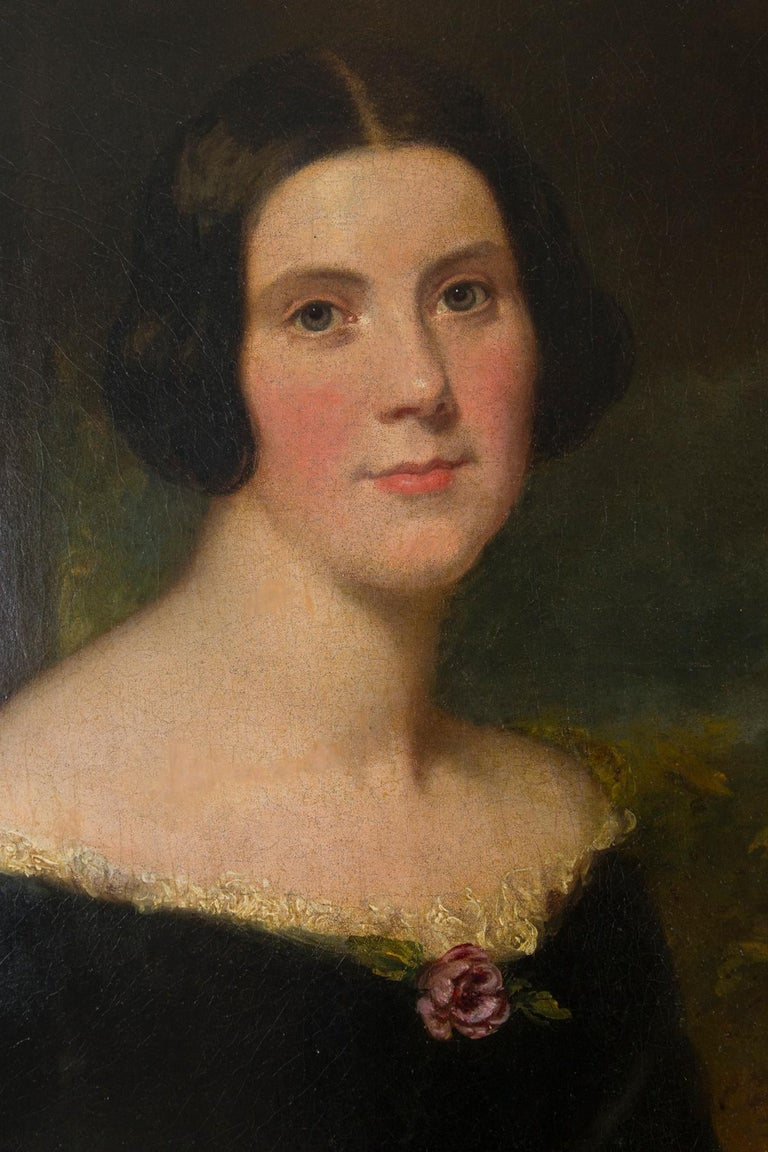 English Original 19th Century Oil Portrait of Lydia Augusta Allen by George Clint For Sale